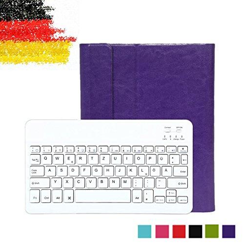 Besmall Ultra Slim Bluetooth Tastatur mit QWERTZ deutsches deutsches deutsches Tastaturlayout für iPad 2/3/4 Tastatur Schutz Hülle Tasche Keyboard Case Lila Wireless Tastatur Ipad2