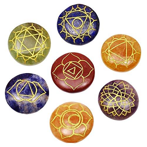 Heilung Kristall Reiki 7Chakra Natürliche Edelstein Gravur poliert rund Stein kristall Reiki Energie geladen Set für Heilung (Energie, Chakra Steine)