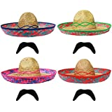 MEXICAN SOMBREROS STRAW HAT + MOUSTACHE PERFECT FOR ANY MEXICO SOMBRERO FANCY DRESS PARTY FOR MEN AND WOMEN WHOLESALE -AVAILABLE IN MULTIPLES OF 1X - 6X - 12X - 24X - 48X