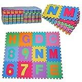 HOMCOM Alfombra puzle 192x192 cm Niños 3 años 36 Piezas Numeros 0 al 9 y 26 Letras Alfabeto Goma Espuma