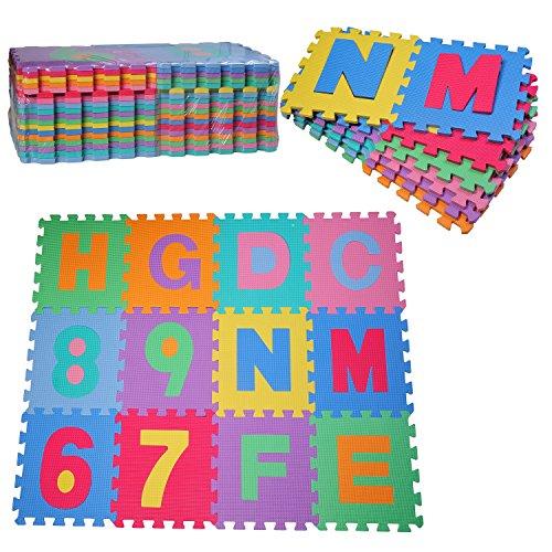 Imagen para HOMCOM Alfombra puzle 192x192 cm Niños 3 años 36 Piezas Numeros 0 al 9 y 26 Letras Alfabeto Goma Espuma