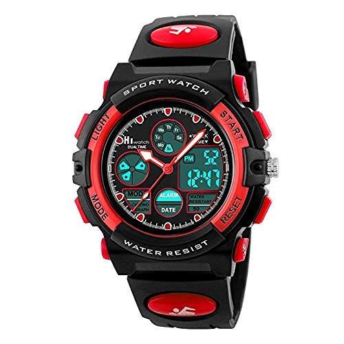 Hiwatch Sportuhren für Kinder Wasserdichte Digital-Armbanduhr Rot -