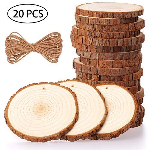 Fuyit dischetti legno grezzo diametro 9-10cm 20 pz naturale decorazioni fette dischetti grezzo rotondo con 12m corda iuta fai da te natale feste matrimonio segnaposto