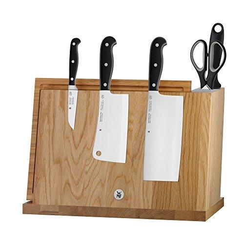 WMF Spitzenklasse Plus Messerblock mit Messerset, 7-teilig, 3 Messer geschmeidet, 1 Wetzstahl, 1 Schere und 1 Schneidebrett aus Bambus, 1 Block magnetisch aus Bambus