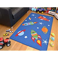 Rugs Supermarket Kids Non Slip Machine Washable Rockets Play Mat. Available in 3 Sizes