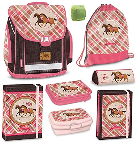 Horse Champion Pferde Schulranzen-Set 8tlg. Federmappe gefüllt und Regenschutz rosa
