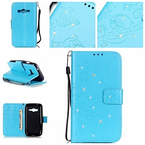 Idatog - Custodia a libro per HTC 626, con protezione per lo schermo in vetro temperato, chiusura magnetica, alta qualità, stile classico ed elegante, in pelle PU con incisioni di farfalle e strass, con funzione di supporto e slot per carta di credito, perfetta per il vostro smartphone, Ecopelle, Blue, Samsung Galaxy Ace 4 G313H/Ace NXT - Bling Fiore