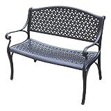 Gartenbank FLORENZ 2-Sitzer, wetterfester Aluguss, Farbton: matt-schwarz
