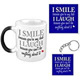 TYYC Fathers Day Gifts For Dad, Funny Teasing Dad Magic Mug, Coaster Set Of 3 With Mug, Coaster And Keychain