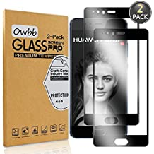 [2 Pack] Owbb Tempered Glass Screen Protector For Huawei P10 Plus Black Full Coverage Film 99% Hardness High Transparent Explosion-proof