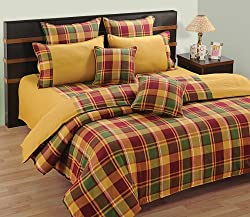 Swayam Linea Stripes Cotton Single Bedsheet with 1 Pillow Cover - Yellow Check
