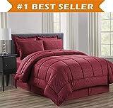Luxus bed-in-a-bag Tröster Set auf Amazon. eleganten Komfort knitterfrei–seidig weich Schönes Design Komplett bed-in-a-bag 8-teilig Tröster Set–hypoallergenic- King Burgund