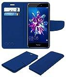 Acm Leather Flip Wallet Case for Honor 8 Lite Mobile Cover Blue