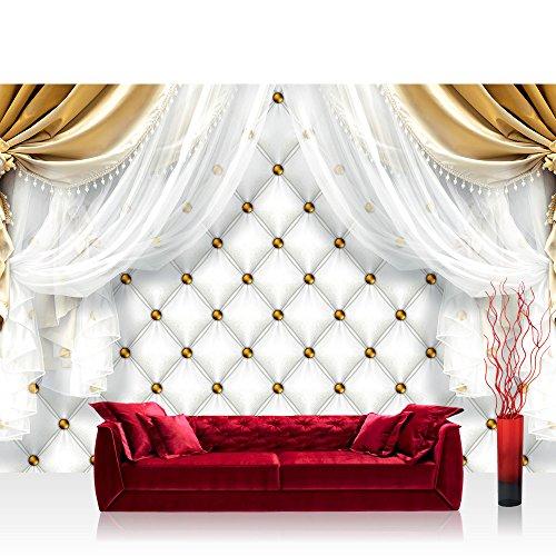 Fototapete 368x254 cm PREMIUM Wand Foto Tapete Wand Bild Papiertapete - Ornamente Tapete Gardine Vorhang Bordüre Blumen gold - no. 2812