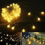 10 Meters Fairy Lights Battery Powered 80leds Globe String Light Bedroom Party Ambient Decoration Lighting for Outdoor Indoor Patio Living Room (Warm White)
