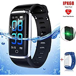 Pulsera Actividad, Thustar Reloj deportivo Inteligente Pantalla Color Fitness Tracker con Monitor de Ritmo Cardíaco las 24 Horas / Impermeable IP68 / Modos de Ejercicio / Monitor de Sueño / Pronóstico del Tiempo/ SMS/ Mensajes para Facebook WhatsApp Twitter y Más