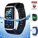Thustar Fitness Armband mit Pulsmesser Farbdisplay IP68, Fitness Tracker mit Herzfrequenz Wasserdicht Schwimmen Smart Armband Pedometer Kompatibel mit iOS Android APP auf Deutsch