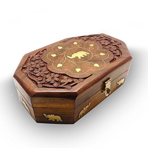 IndiaBigShop Handmade Keepsake Trinket Schmuck Aufbewahrungsbox Schmuck Organizer Box mit einzelnen Elefanten Inlay und Carving 8 X 5 Zoll