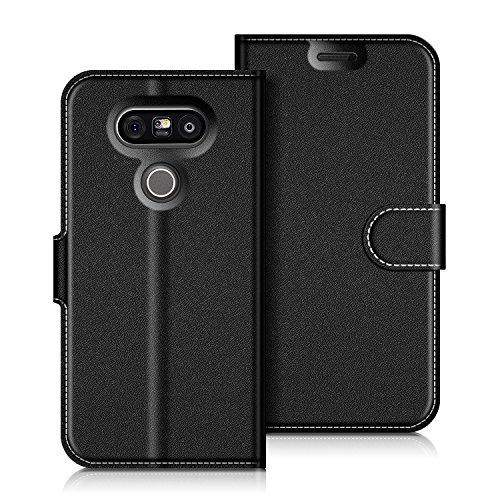 Coodio LG G5 Hülle Leder Lederhülle Ledertasche Wallet Handyhülle Tasche Schutzhülle mit Magnetverschluss / Kartenfächer für LG G5, Schwarz