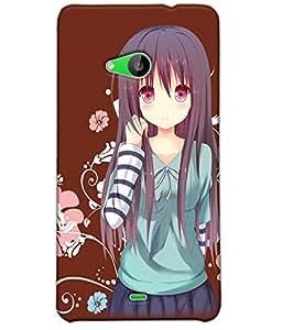 Fuson Flower Girl Back Case Cover for NOKIA MICROSOFT LUMIA 535 - D3772