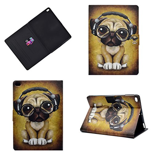 �r Apple iPad 2017 / iPad Air/iPad Air 2 (9,7 Zoll) PU Leder Ultra Dünn Magnet Lederhülle Kleiner Hund Trägt Kopfhörer Muster Stent-FunktionLedertasche Flip Cover ()