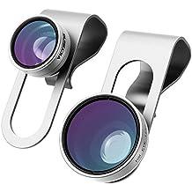 3-in-1 Lenti per Cellulari VicTsing Clip-On 180 Gradi Premium Fisheye Lente + 0,65X Wide Angle Lente + 10X Macro Micro Camera Kit Lente, per iPhone 6S/6 Plus/6/SE/5S/4/4S, iPad Air Mini Pro, Galaxy S7/S7 Edge/S6/S5, Huawei, Xiaomi HTC Sony LG Smartphone (No Circlo Oscuro da lente Fisheye), Argento