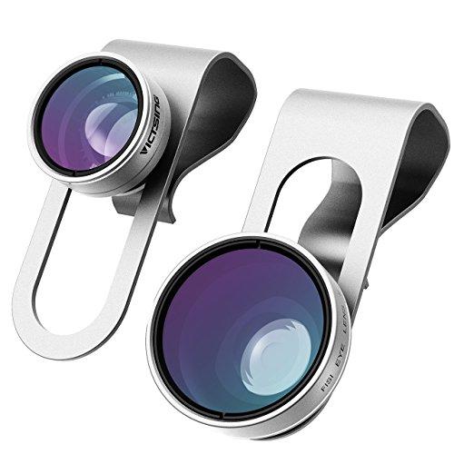 3-in-1 Lenti per Cellulari VicTsing Clip-On 180 Gradi Premium Fisheye Lente + 0,65X Wide Angle Lente + 10X Macro Micro Camera Kit Lente, per iPhone 7/7 Plus/6S/6 Plus/6/SE/5S/4/4S, iPad Air Mini Pro, Galaxy S7/S7 Edge/S6/S5, Huawei P9, Xiaomi HTC Sony LG Smartphone (No Circlo Oscuro da lente Fisheye), Argento-[Regalo Ottimo]