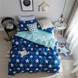 Bettwäsche Bettbezug Set, Morbuy 3 Teilig Bettgarnitur Bettwäsche - Set Gemütlich 100% Mikrofaser mit Reißverschluss 1 Bettbezug + 2 Kissenbezug (135x200CM, Blaue Sterne)