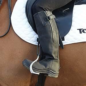 Toggi Calgary Long Leather Boots Plain Broad One Leg Length Black 36