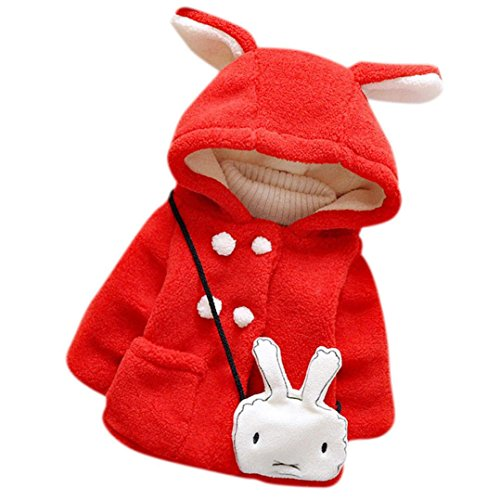 Bekleidung Longra Baby Kleinkind Mädchen Fell Winter warme Kapuzen Mantel Winterjacke Kinderjacken Dicke warme Kleidung (0-24 Monate) (70CM (0-9 Monate), Red)