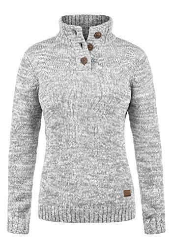 DESIRES Philicita Damen Strickpullover Troyer Grobstrick Pullover Mit Stehkragen Aus 100% Baumwolle, Größe:S, Farbe:Light Grey Melange (8242)