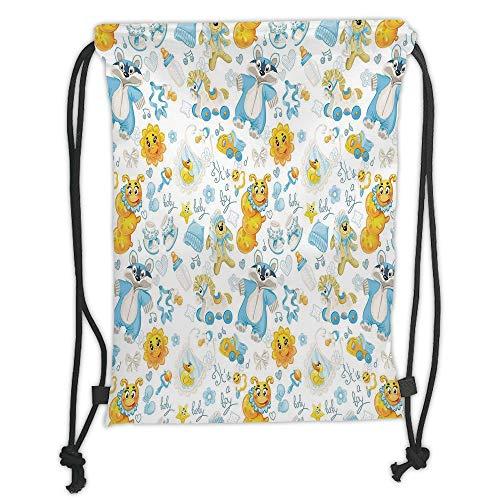 LULUZXOA Gym Bag Printed Drawstring Sack Backpacks Bags,Nursery,Its a Boy Image with Happy Sun Raccoon in Pyjamas Blue Hats and Pacifier Decorative,Earth Yellow Aqua Soft Satinrin