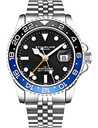 Stuhrling Original Mens Stainless Steel Jubilee Bracelet GMT Watch - Swiss Quartz, Dual Time, Quickset Date with Screw Down Crown, Water Resistant up to 10 ATM (Black/Blue)