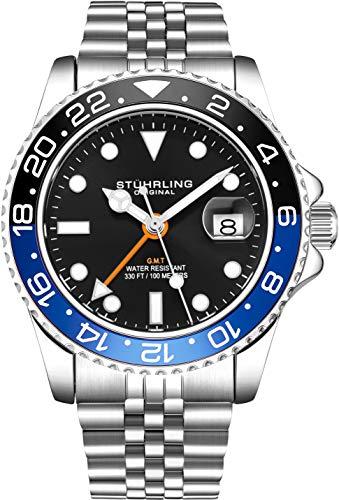 Stuhrling Original Herren Edelstahl Jubiläumsarmband GMT Uhr - Schweizer Quarz, Dual Time, Quickset Datum mit verschraubter Krone, wasserdicht bis 10 ATM (Black/Blue)