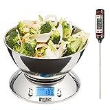 Boston Tecnology HK-101 - bilancia da cucina digitale con timer, la funzione TARA e sensore di temperatura. Bol Incluso termometro regalo Kitchen