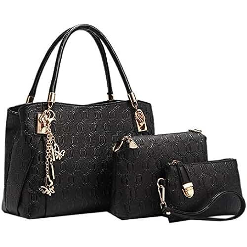 bolsos para el dia de la madre Coofit 3 EN 1 Bolso de mujer, cross body bag y monedero, hecho de cuero, Bolso mochila para mujer 3 Pcs Set bolsos de mano bolsos fiestabolsos bandolera