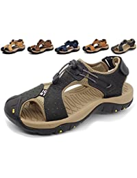 31f811d3202b Asifn Sports Outdoor Sandals Summer Men s Beach Shoes Leather Casual  Breathable Non-Slip Hiking Walking