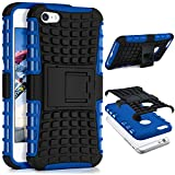 ONEFLOW Apple iPhone 5S | Hülle Silikon Hard-Case Blau Outdoor Back-Cover Extrem Stoßfest Schutzhülle Grip Handyhülle für iPhone 5/5S/SE Case Rückseite Tasche