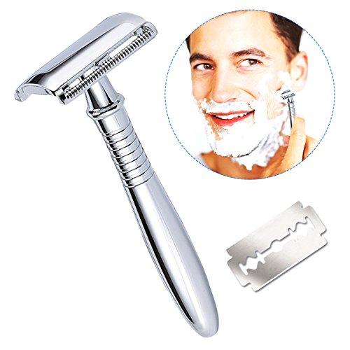 Foto de Maquinilla de afeitar para hombre, Breett Maquinilla para hombre Maquinilla de afeitar para hombre mango largo con doble filo kit de afeitado para hombres afeitado,Recambio de maquinilla de afeitar