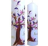 Taufkerze 250x60 Mädchen Junge Lebensbaum Mit NAMEN und DATUM pink lila gold Alle Farben möglich ITP101