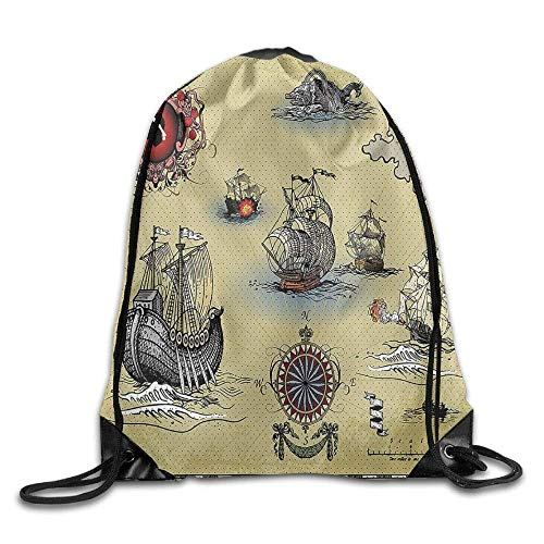 Old Navy Camo (GONIESA Compass Antique Old Plan Discovery Ship Pirate Wave Compass Navigation Geography Theme Drawstring Bags Leisure Backpack for Teens College)