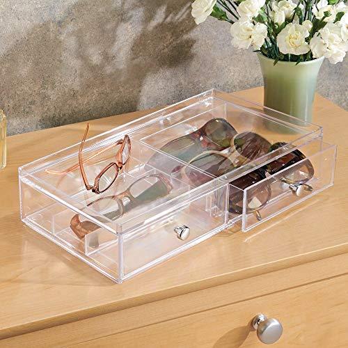 iDesign 39760EU Clarity Stapelbarer Schubladenturm mit 2 Schubladen, breit, 32,5 cm x 18,0 cm x 7,5 cm, durchsichtig, kunststoff