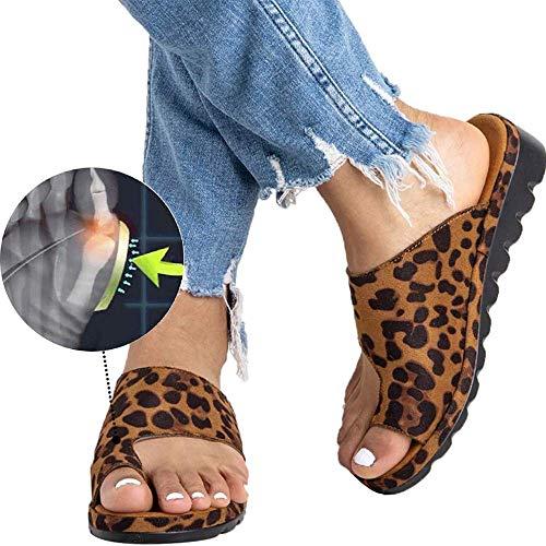 Wahpy Neu Damen Sommer Orthesen Hauschuhe Peep-Toe Schuhe Keilabsatz PU Leder Sandalen Bequem Flach Strandschuhe,Leopard,42 Leopard Peep Toe Pumps