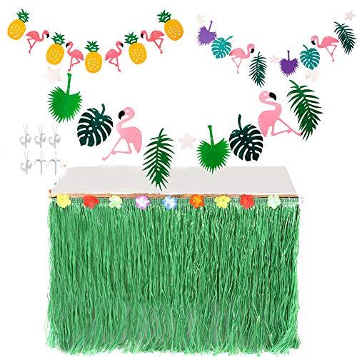 VN STORE VN Hawaiian Luau-Tabelle Speichern Rock mit Tropical Flower Trim und Banner für Beach Mottoparty Dekoration Grün