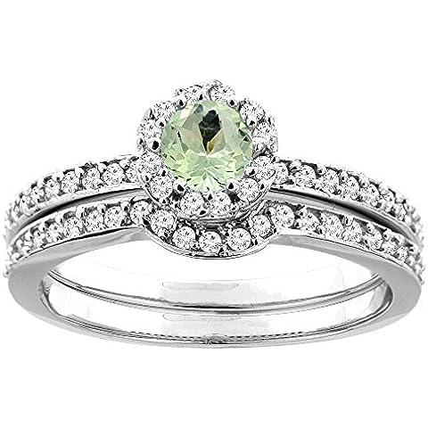 Revoni-Bracciale in oro bianco 14 kt e ametista verde, 2 pezzi, a forma di anello di diamanti, 4 mm
