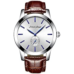 Samuel Joseph Bespoke Men's 43mm Wrist Watch - Master Crafted with White Dial, Steel Case, and Brown Leather Band