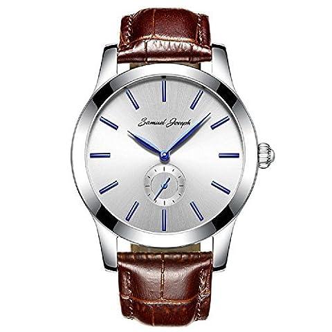 Samuel Joseph sur mesure pour homme 43mm montre bracelet–Master faite avec cadran blanc, boîtier en acier, et marron Bande de cuir