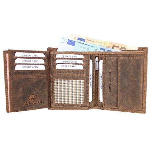 ALMADIH Leder Portemonnaie aus Rindsleder hochformat - 18 Kartenfächer Geldbörse Herrenbörse Herren Geldbeutel Brieftasche (P11 - Braun Vintage)