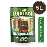 Cuprinol 5 Year Ducksback 5 L Harvest Brown - Tintes para maderas de exterior (En vallas y cercados, Shed, 5 L, 5 m²/L, Harvest Brown, Al agua, Transl