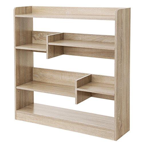 Vasagle libreria di legno con ripiani regolabili, scaffale autoportante, per soggiorno, camera da letto, cameretta e ufficio, 90 x 24 x 91 cm (l x p x a), rovere lbc53nl